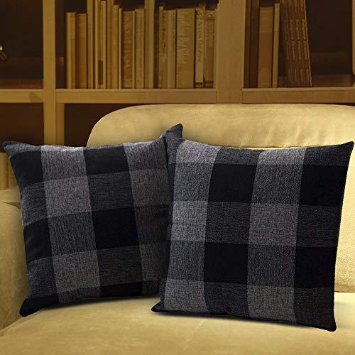 Shirt Luv Pillow Case 2PC Classic Plaids Cotton Linen Soft Christmas Decorative Square Pillow Covers