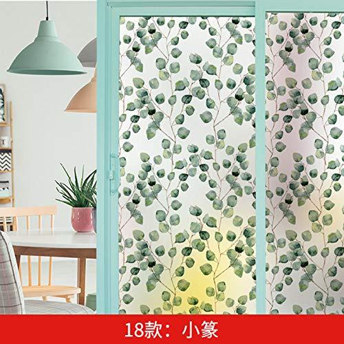 TFOOD raamfolie, raamfolieasthetische AST bladgroenstatische matte stickers opaak glasdecoratie, zelfklevende uv-bescherming voor keuken, badkamer, woonkamer