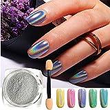 FOXTSPORT - Polvere olografica per unghie con pigmenti cromati a forma di unicorno e arcobaleno, effetto specchio, per manicure e nail art, confezione da 0,5 g