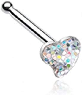 Heart Glitter Sparkle Nose Stud Ring 316L Surgical Steel