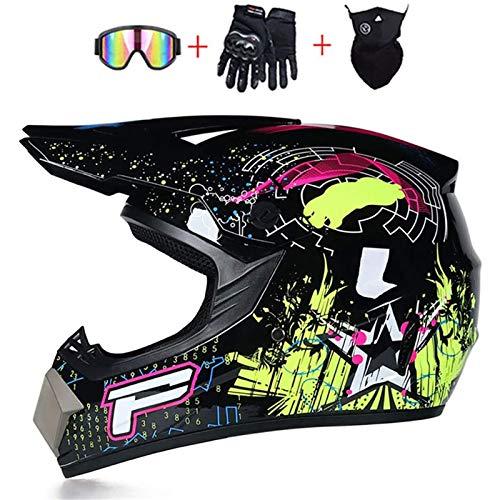 CZLWZZD Helm Unisex Erwachsenen-Motocross, DOT-Zertifiziert Downhill-Rennen Vollgesicht Mit Schutzbrille Maske und Handschuhe Dirt Bike BMX Scooter Street Bike Off Road