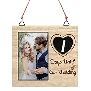 Wallfire Wedding Countdown Photo Frame Personalized Countdown Calendar Engagement Gift Bridal Shower Gift for 6x4inch Photo
