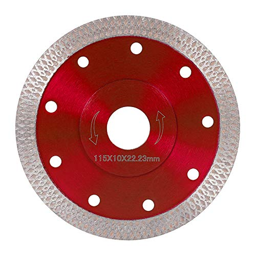 Discos de diamante para corte, hoja de sierra delgada turbo de 115 mm, para amoladora angular, corte de baldosas, porcelana, granito, mármol y cerámica, rojo