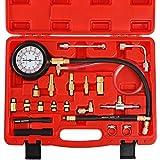 YSTOOL - Kit de medidor de presión de combustible, 140 psi, para motor automotriz, inyector, bomba, prueba, gasolina, gas, inyección, manómetro, juego de herramientas con adaptador Schrader de ajuste en línea para automóvil, motocicleta (estuche rojo)