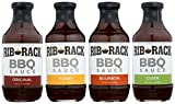 Rib Rack All Natural BBQ Sauce, Variety Pack: Original, Sweet Honey, Southern Bourbon, and Campfire Cider - 4 Count (Packaging May Vary)