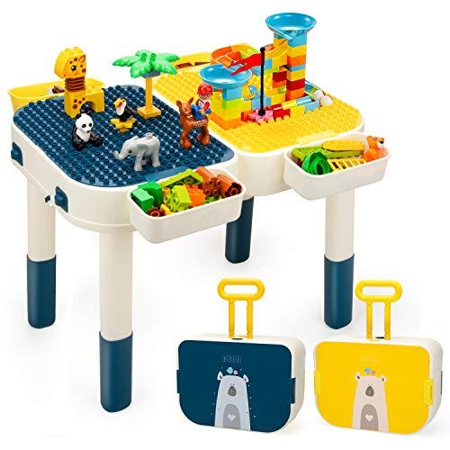 NextX Mesa de bloque de construcción, altura ajustable, incluye bloques de gran tamaño, compatible con ladrillos clásicos y cajas de almacenamiento, juguetes para niños pequeños