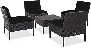 vidaXL Set Sofás de Jardín 5 Piezas y Cojines Terraza Conjunto Casa Exterior Comedor Aire Libre Mesa Silla Asientos Ratán Sintético Negro