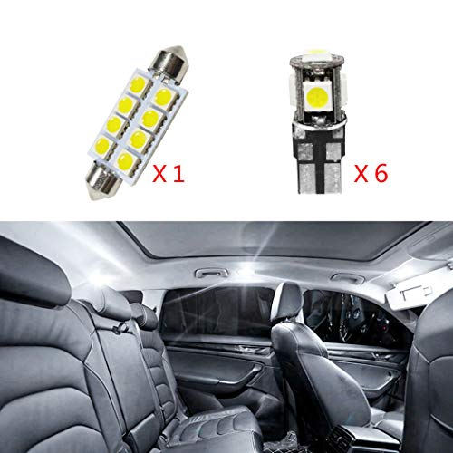 for Cadillac CTS Car Interior Light Bulbs LED Dome Lights Map Compact Wedge Xenon Super Bright Chipsets Replacement Bulbs White 7Pcs