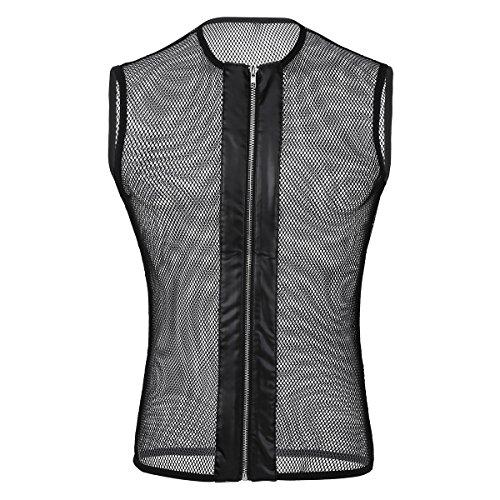 YiZYiF Chaleco Sexy Camiseta de Malla Transparente Hombres Top Punk Ropa Erótica Camisetas Interiores sin Manga Chaleco de Rejilla Fishnet Clubwear Negro L
