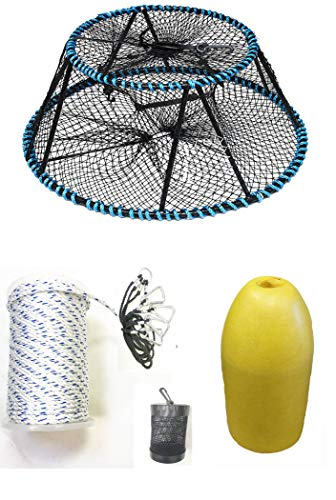 Amazing Deal KUFA Sports Vinyl Coated Tower Style Prawn Trap(35x21x16.5H,Mesh:1-3/4 inch) with Pr...