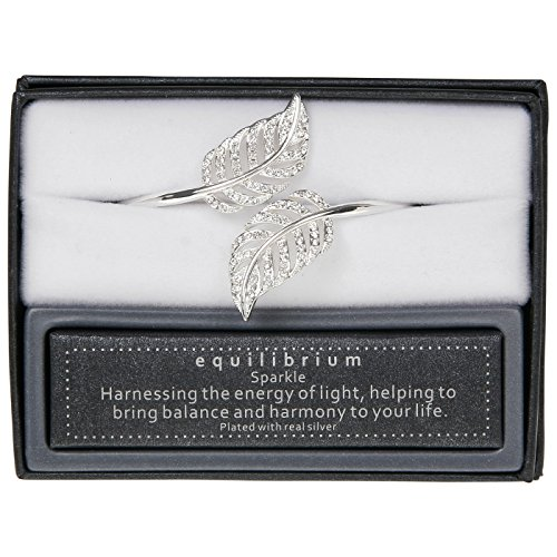 equilibrium Silver Plated Feathers Open Bangle