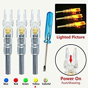 XLZKJ S Lighted Nocks for Arrows with .244 Inside Diameter Automatic Compound Bow Arrow Nocks for Hunting Shooting 3PCS