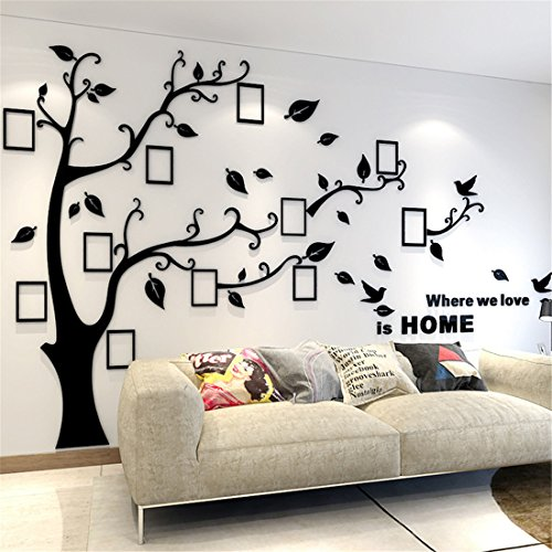 3D Wall Stickers Plastic Tree Wall Decal Home Decorations with Family Photo Frames for Children's Room, Kindergarten, Baby Room, Restaurant, Family (M: 150 * 210CM, Black Right)