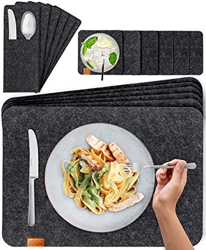 Manteles Individuales Miqio® Design Premium con Posavasos y Bolsas Portacubiertos (Set para 6 Personas)