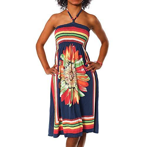 Diva-Jeans Damen Sommer Aztec Bandeau Bunt Tuch Kleid Tuchkleid Strandkleid Neckholder H112, Farbe: F-027 Dunkelblau, Größe: Einheitsgröße