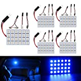 Everbrightt 5-Pack Blue 5050 24SMD Led Panel Dome Light Lamp Auto Car Reading Interior Lamp DC 12V With T10 / BA9S / Festoon Adapters