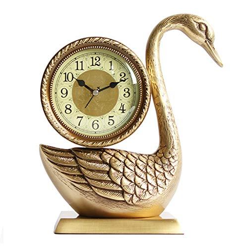 ZLDMYC Exquisito Cisne Retro □ Reloj de Mesa de latón Reloj de Escritorio Mantel Relojes silenciosos Tabletop Relojes para Sala de Estar Dormitorio Cocina Decorativa Creativo