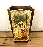Portaombrelli in legno decorato con oro a mano con immagine dama