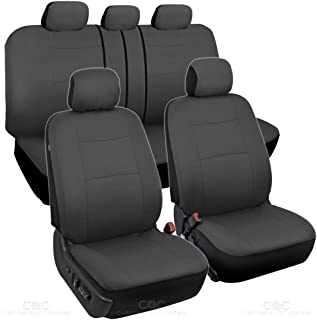 BDK Charcoal Black Car Seat Covers Full 9pc Set - Sleek & Stylish - Split Option Bench 5 Headrests Front & Rear Bench - OS-309-AC