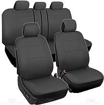 BDK Charcoal Black Car Seat Covers Full 9pc Set - Sleek & Stylish - Split Option Bench 5 Headrests Front & Rear Bench - OS-309-AC