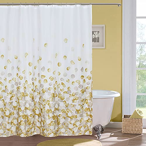 MitoVilla Yellow Petal Shower Curtain for Bathroom, Abstract Cream Gold and White Floral Bathroom Curtain, Yellow Ombre Petal Raindrop Dot Pattern Fabric for Modern Bathroom Decor, 72' W x 72' L