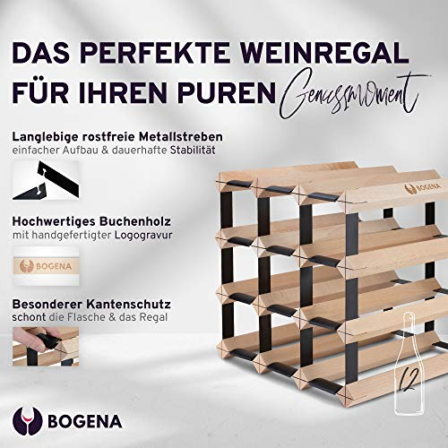 BOGENA® aus Holz - im einzigartigen Design - in 3 Varianten erhältlich - stabil, langlebig & modern - Elegantes Flaschenregal für Ihre heimische Weinsammlung (12 Flaschen) - 2