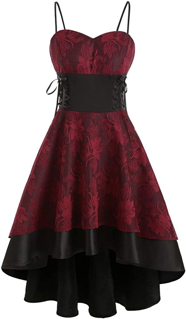 Floral Max 79% OFF Lace Up Gothic Punk Dress Steampunk Lo High quality new for Womens Vintage