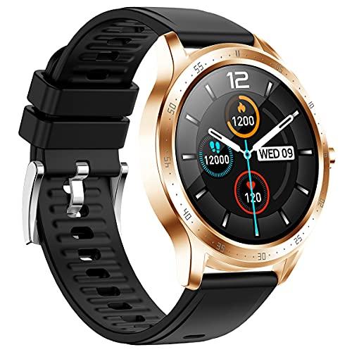 BINDEN Smartwatch Reloj Inteligente SKY 5 Reloj Digital, Notificaciones, Redes Sociales, Podómetro, Obturador, Personalizable, Deportes, Correr, Caminata, Bádminton, Nadar, Ciclismo, Baloncesto y Fútbol, Silicón Dorado