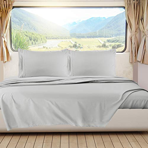 Nestl Bedding Short Queen Sheets, RV Sheets Set for Campers, Deep Pockets Fitted RV Bunk Sheets, 4-Piece 1800 Microfiber Bed Sheet Set, Cool & Breathable, RV Queen Sheets, Silver Gray