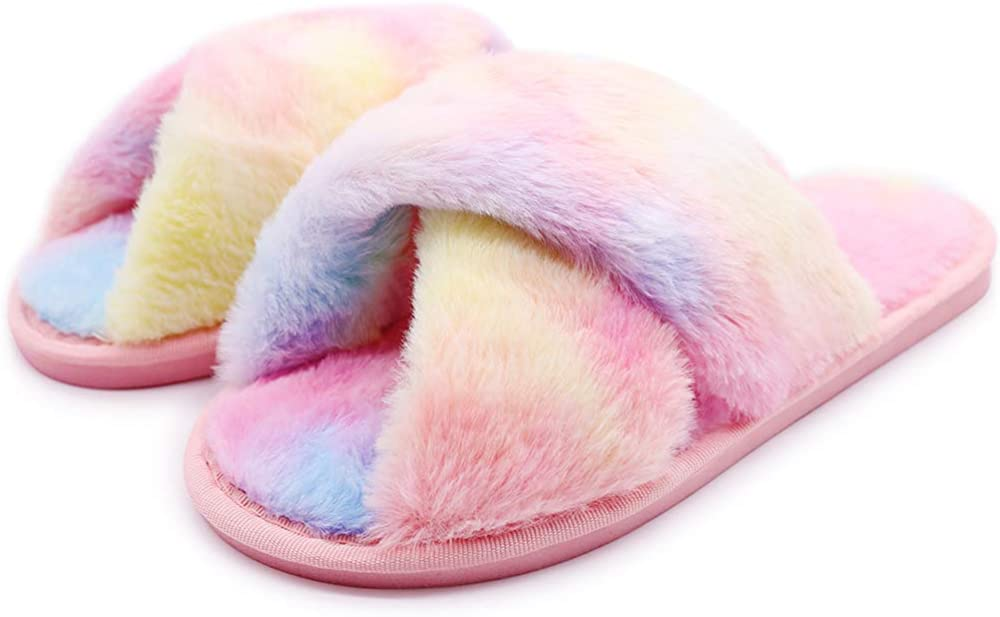 Women's Chicago Mall supreme Fluffy Furry Fuzzy Slippers Cross Soft Band S Flat Plush