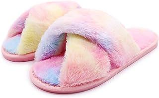 eccbox Women's Fluffy Furry Fuzzy Slippers Cross Band Soft Plush Flat Slide Memory Foam House Slippers Open Toe Comfy Spa ...