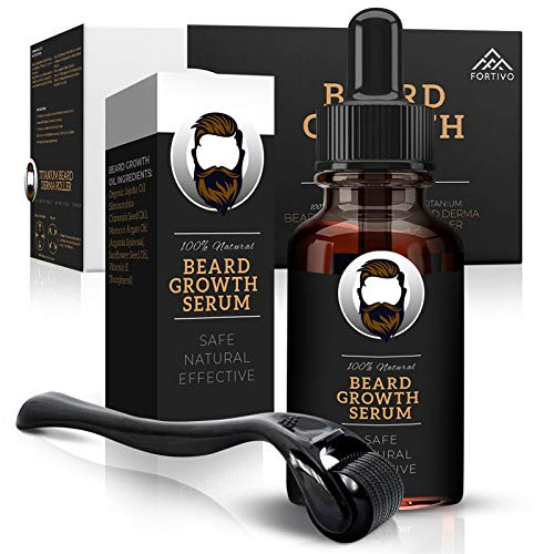 Derma Roller for Beard Growth - Beard Growth Serum, Beard Kit for Men - Micro Needle Roller for Face and Dermaroller for Hair Growth, Men Grooming Kit - Derma Roller Kit, Hair Growth Derma Roller
