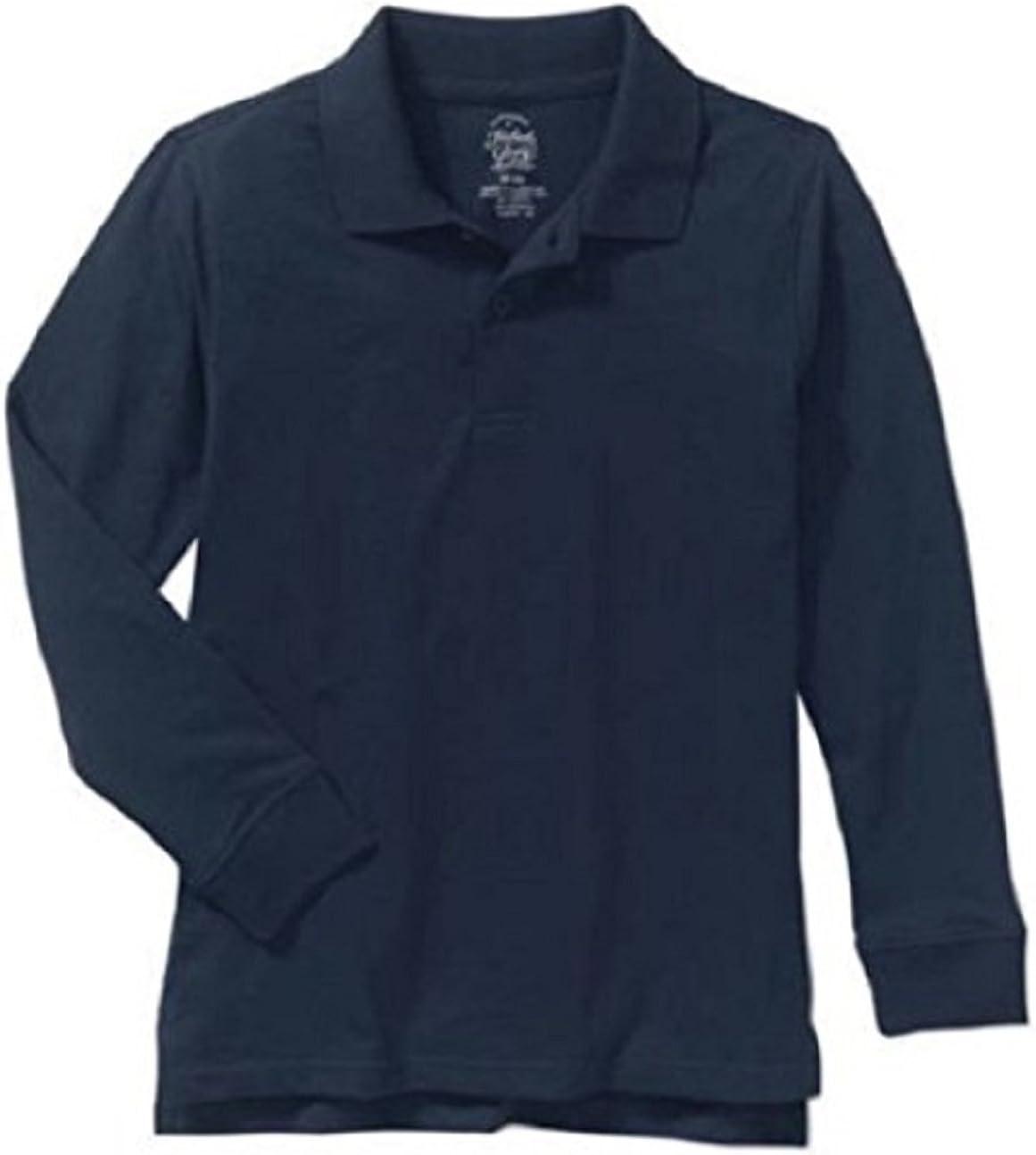 Faded Glory Boys Long Sleeve Navy Blue Cotton Polo Shirts