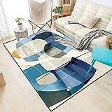 DPJS Alfombra Alfombra Poliéster Arte Abstracto Color Azul Bloque Dormitorio Salón Alfombra De Piso De La Habitación De Los Niños,150x200cm