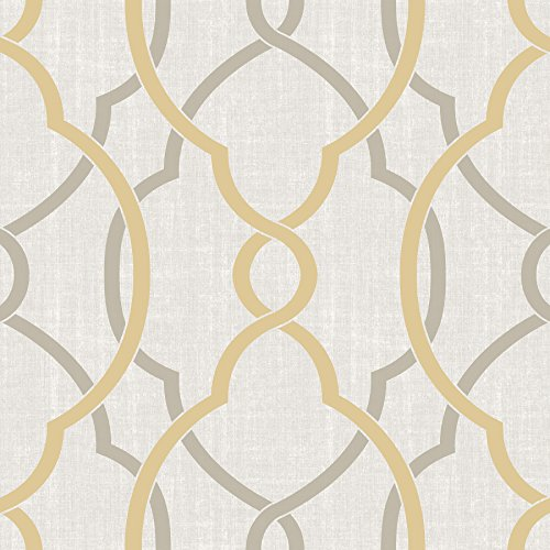 NuWallpaper NU1695 Sausalito Taupe/Yellow Peel & Stick Wallpaper