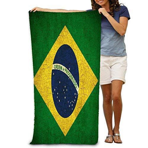 AGHRFH Strandhandtuch, 79 x 130 cm, weich, leicht, saugfähig, für Bad, Schwimmbad, Yoga, Pilates, Picknick-Decke, Handtücher, Brasilien-Flagge, Wolken, Violett
