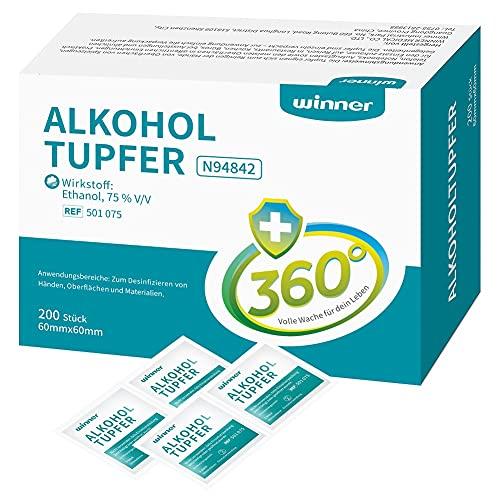 Winner Medical: 200 toallitas de algodón con alcohol etanol 75%, 4 capas, cuadradas bien empapadas con alcohol, almohadillas de alcohol estériles (6 x 6 cm).