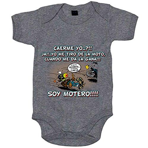 Body bebé yo me tiro de la moto cuando me da la gana soy motero - Gris, Talla única 12 meses