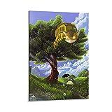 DRAGON VINES Póster de película animada de My Neighbor Totoro Catbus, árbol verde e impresiones sobre lienzo, murales minimalistas para cocina y decoración del hogar, 20 x 30 cm