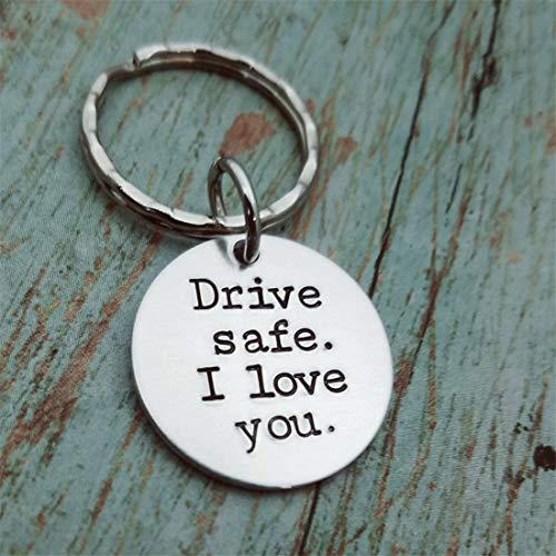 Yesiidor Drive Safe I Love You Schlüsselanhänger aus Titanstahl, einfacher stilvoller Schlüsselanhänger, Geschenk, Trucker, Ehemann, Geschenk