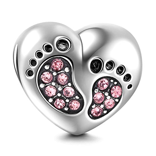 Synthetic Birthstone Baby Foot Step Charms 925 Sterling Silver Pink CZ Family Beads for Bracelets Jewellery Christmas