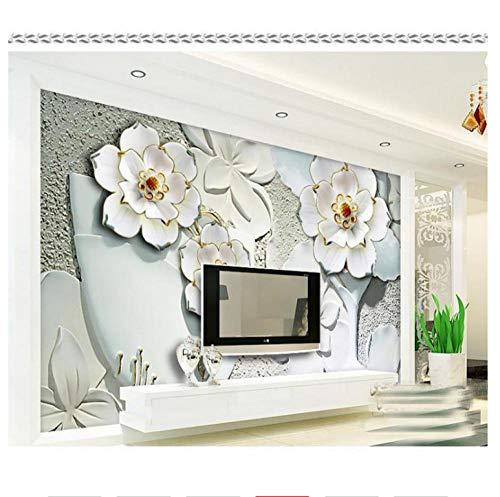 Shuangklei grote witte vaas bloem 3D muur muurschilderingen behang voor tv achtergrond 3D foto muurschilderingen reliëf bloem muurschilderingen 120 x 100 cm.