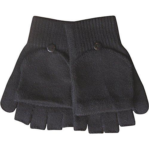 Hommes' thermique d'hiver tricot magique 2 en 1 COMBO MITAINES & MITAINES - Noir, One size