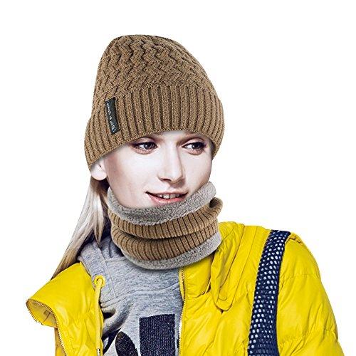 Pairy Winter Hat Scarf Set Warm Knit Hat For Men Women (Hat + Scarf (Khaki))
