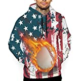 CARRYFUTURE American US Flag Baseball with Fire Pullover Hoodies for Men Unisex 3D Funny Pattern Print Hooded Sweatshirt with Pockets 2XL