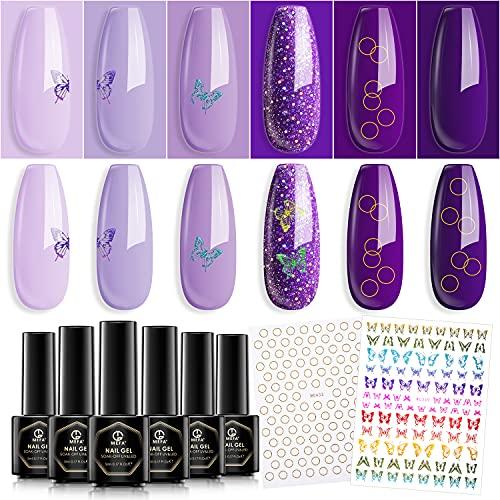 MEFA Gel Nail Polish Stickers Set - 6 Colors Purple Violet Grape Lavender Gel Nail Polish...