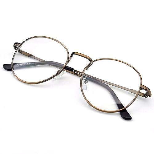 7b21d9e15b1 PenSee Oval Classic Retro Metal Frame Clear Lens Round Circle Eye Glasses