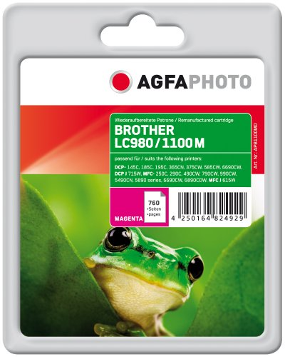 AgfaPhoto APB1100MD nachgefüllt Tintenpatronen 1er Pack, magenta, 13.5 x 10.8 x 2.3