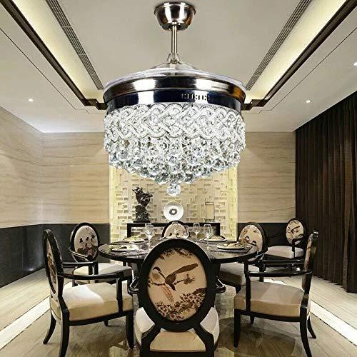 Ventilador invisible LED de cristal en forma de corazón plateado de 42 pulgadas con control remoto Iluminación ajustable Ventilador de velocidad del viento Candelabro Decorativo para el hogar Cocina