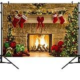 OUYIDA 7X5FT Christmas Themed Fireplace Vinyl Photography Backdrop Photo Background Studio Prop CEM06